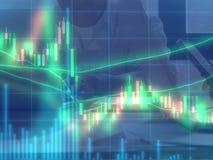 Exposición doble de la carta del mercado de acciones y de los datos de la acción en azul encendido Imagenes de archivo
