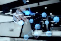 Exposición doble de la mano que muestra Internet de las cosas (IoT) foto de archivo libre de regalías