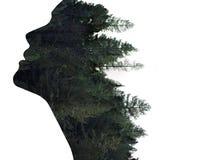 Exposición doble de la mujer en perfil y bosque fotografía de archivo libre de regalías