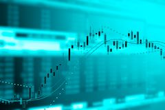 Exposición doble del gráfico de negocio y del monitor del comercio stock de ilustración