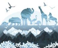 Exposición doble, naturaleza salvaje hermosa libre illustration