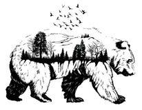 Exposición doble, oso dibujado mano fotografía de archivo