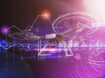 Exposición doble, vuelo teledirigido moderno del abejón del aire con la cámara de la acción En fondo negro 3d Imagen de archivo