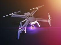 Exposición doble, vuelo teledirigido moderno del abejón del aire con la cámara de la acción En fondo negro 3d Imagenes de archivo