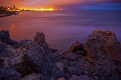 Exposición larga de la playa del amanecer Imagen de archivo