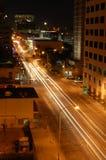 Exposición larga de las calles de la ciudad Foto de archivo