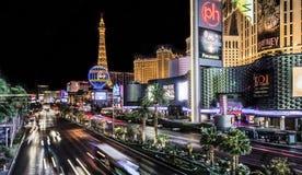 Exposición larga del Las Vegas Boulevard imagen de archivo