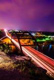 Exposición larga vertical del puente de Pennybacker 360 Fotografía de archivo