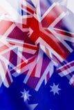 Exposición múltiple de algunas banderas australianas imagenes de archivo