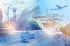 Exposición múltiple de la información de la conectividad del intercambio del negocio de la gestión de envío de la logística indus imagen de archivo libre de regalías