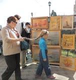 Exposición y venta de arte Imágenes de archivo libres de regalías