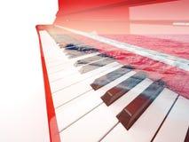 Exposición doble del piano Fotografía de archivo libre de regalías