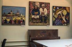 Exposição de arte dos pintores na cidade do russo de Kaluga Fotografia de Stock
