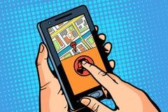 Exposição do telefone App para chamar um passeio Imagens de Stock