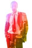 Exposição dobro do homem de negócios e da cidade Fotografia de Stock Royalty Free