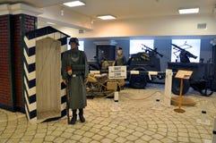 Expositie` Duitse controlepost ` bij de Museumtechniek van Vadim Zadorozhnogo Arkhangelskoe, het Gebied van Moskou, Rusland royalty-vrije stock fotografie