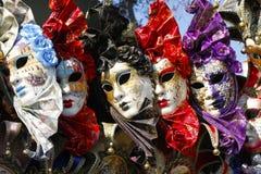 Expositie van maskers van Venetië Royalty-vrije Stock Foto's
