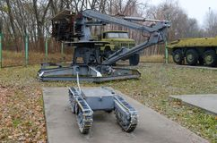 Expositie van robotachtige technologie, die aan liquidatie van gevolgen van de catastrofe van Tchernobyl in 1986-1987, Tchernobyl stock fotografie