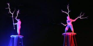 Exposition électrique, la bobine de Tesla électrique photo libre de droits