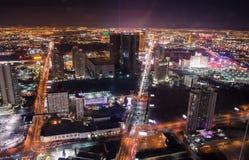Exposition aérienne de lumière de nuit de bande de Las Vegas Photos stock