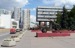 The exposition of the artillery equipment during the great Patriotic war at the Museum of defense of Moscow in the Olympic village Stock Photo