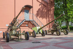 The exposition of the cannons of World War II, State Enterprise 'Vodokanal of St. Petersburg' Stock Photo