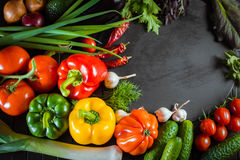 Exposition close up of fresh organic vegetables, composition with assorted raw organic vegetables, red pepper and tomato, cucumber. Onion and garlic, on black royalty free stock photography