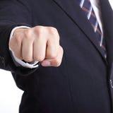 Exposition d'homme d'affaires poinçonnant pour la question de slove Image stock
