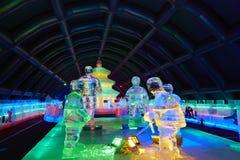 Exposition d'intérieur de sculpture en glace Photo stock