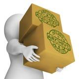 Exposition de boîtes d'archives organisant et stockant des données Images stock