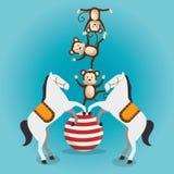 Exposition de cirque de singes et de chevaux illustration de vecteur