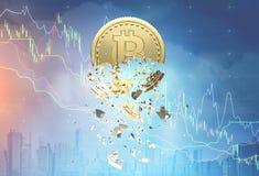Exposition de crise de Bitcoin double Images libres de droits