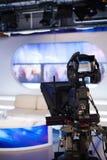 Exposition de enregistrement dans le studio de TV Photographie stock