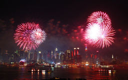 Exposition de feux d'artifice de Manhattan Images libres de droits
