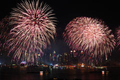 Exposition de feux d'artifice de New York City Manhattan Images stock