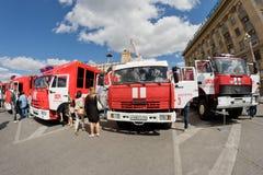 Exposition de l'équipement spécial des pompiers Images stock
