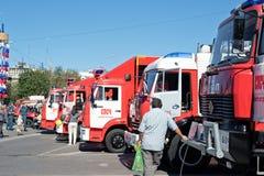 Exposition de l'équipement spécial des pompiers et des appareils auxiliaires Photos libres de droits