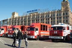 Exposition de l'équipement spécial des pompiers et des appareils auxiliaires Image stock
