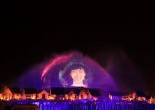 Exposition de laser dans Sentosa, Singapour Photos stock