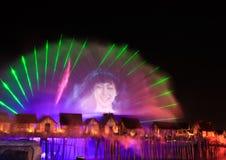 Exposition de laser dans Sentosa, Singapour Photo stock
