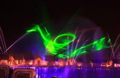Exposition de laser dans Sentosa, Singapour Photographie stock libre de droits