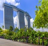 Exposition de laser de Singapour Marina Bay Sand et jardin par la baie Photo libre de droits