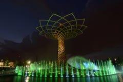 Exposition de lumière de nuit à l'arbre de la vie 08, EXPO Milan 2015 Photos stock
