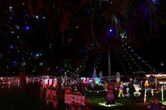 Exposition de lumière de village de Noël Images libres de droits