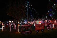 Exposition de lumière de village de Noël Images stock