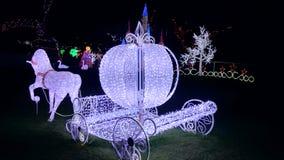 Exposition de lumière de Noël - Cinderella Horse Carriage Image libre de droits