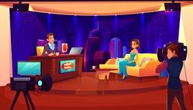 Exposition de nuit de TV Entrevue femelle d'invité de célébrité illustration libre de droits