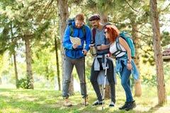 Exposition de randonneurs avec la voie de bras par le bois Photos libres de droits