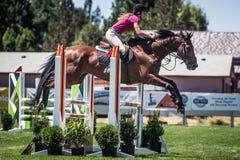 Exposition de Rider Jumps Horse At Horse Photos stock