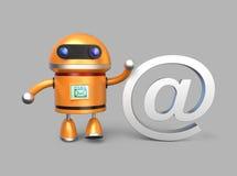 Exposition de robot au signe pour le concept d'email Images stock